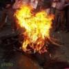 एनएसयूआई ने फूंका केन्द्रीय मंत्री का पुतला