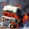 शार्ट सर्किट से ट्रक में आग