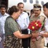 मुख्यमंत्री राजे का उदयपुर हवाई अड्डे पर भव्य स्वागत